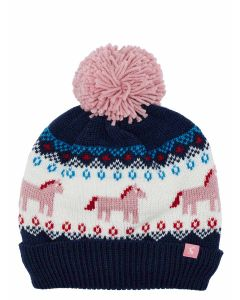 Joules Girls Fallbury Knitted Booble Hat, Navy Horse | 205567