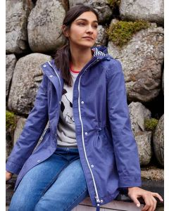 Joules Shoreside Waterproof Coat with Drawstring and Hood, Blue 206209