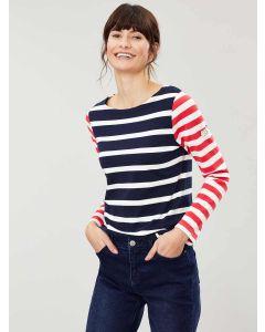 Joules Harbour Jersey Top, Navy Cream Stripe 207752