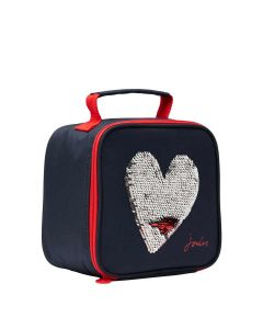Joules Girls Munch Lunch Cool Bag, Blue Sequin Heart
