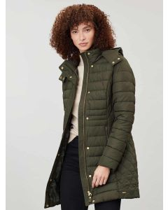 Joules Thirlmere Long Padded Coat, Everglade 208178