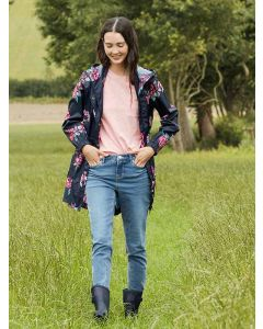 Joules Navy Floral Women's Golightly Waterproof Packaway Jacket