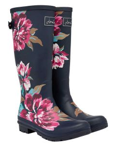 Joules Welly Print Wellington Boot - Navy All Over Floral - Printed Welly with Adjustable Back Gusset