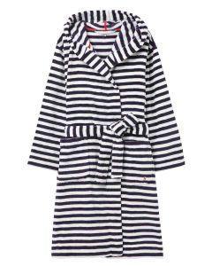 Joules Rita Fluffy Dressing Gown, Blue Cream Stripe