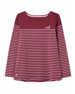 Joules Harbour Embroidered Jersey Top  -  Purple Stripe | 210256