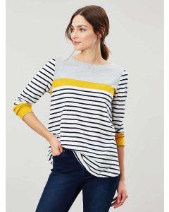 Joules Harbour Swing Lightweight Jersey Top, Cream Navy Stripe 210483