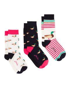 Joules Brilliant Bamboo 3pk Socks Set - Cream Ducks | 212289