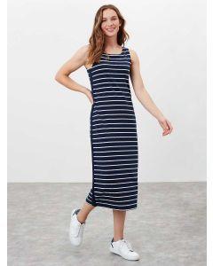 Joules Riva Midi Length Jersey Dress - Navy Cream Stripe | 212390