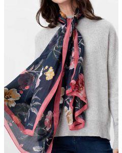 Joules Karin Silk Scarf  -  Navy Pink Floral | 212536