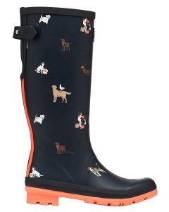 Joules Welly Print Wellington Boot - Navy Beach Dogs - Printed Welly with Adjustable Back Gusset