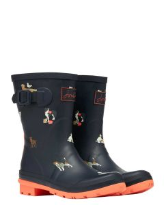 Joules Molly Short Printed Wellies, Navy Beach Dog