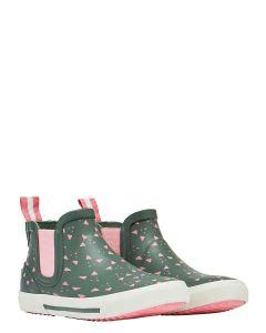 Joules Rainwell Girls Short Height Wellington - Green Pink Fox | 212684
