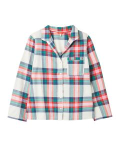 Joules Dream Woven Pyjama Shirt, Long Sleeved Cotton Pyjama Top. 212694 Multi Check