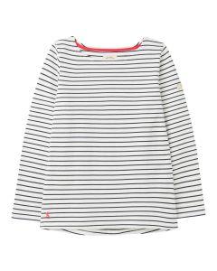 Women's Joules Harbour Jersey Top  -  Cream Navy Stripe | 212831