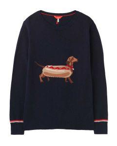 Joules Miranda Intarsia Knitted Jumper  -  Navy Hot Dog   212837