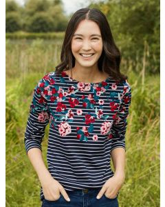 Joules Harbour Print Jersey Top  -  Navy Floral Stripe | 212928