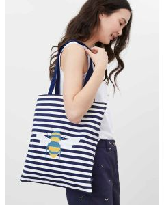 Joules Lulu Canvas Tote Shopping Bag with Shoulder Strap, Cream Bee Stripe | 213104