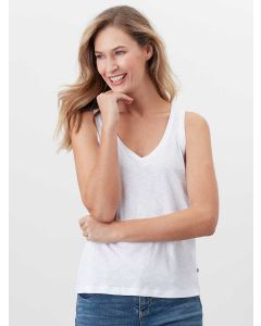 JOULES MAYA JERSEY COTTON N-NECK VEST TOP, BRIGHT WHITE | 213277