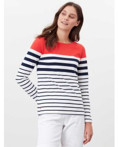 HARBOUR LONG SLEEVE JERSEY TOP | 213303 | CREAM NAVY RED STRIPE