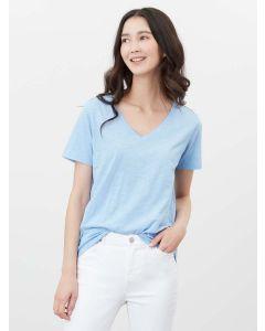 Joules Celina Solid Jersey V Neck T-Shirt - Haze Blue | 213652