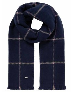 Joules Women's Stamford Checked Scarf, Navy Blue 213662