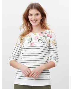 JOULES HARBOUR PRINT LONG SLEEVE JERSEY TOP, 213748 | CREAM GREEN STRIPE FLORAL