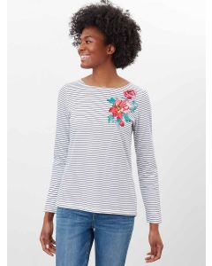 JOULES HARBOUR PRINT LONG SLEEVE JERSEY TOP, 213748 | FRENCH NAVY FLORAL STRIPE