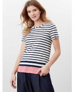 JOULES CARLEY NAVY CREAM RED STRIPE CLASSIC CREW T-SHIRT | 213876