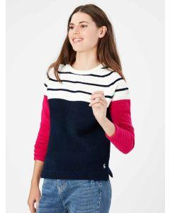 Joules Seaport Chenille Raglan Jumper - Cream Navy Stripe | 214259