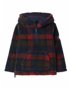 Joules Printed Whitacre Boys Printed Borg Overhead Fleece - Red Check   214318