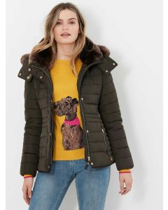 Joules Gosway Padded Coat with Faux Fur Trim - Heritage Green | 214324