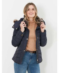 Joules Gosway Padded Coat with Faux Fur Trim - Marine Navy | 214324