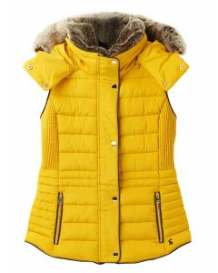 Joules Melford Padded Gilet with Faux Fur Trim - Antique Gold - 214349