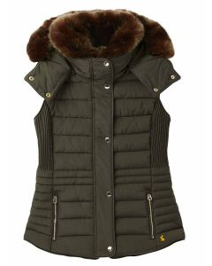 Joules Melford Padded Gilet with Faux Fur Trim - Heritage Green - 214349