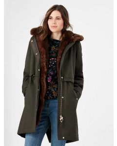 Joules Piper Coat with Detachable Faux Fur Hood - Heritage Green - 214499