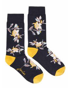Joules Brilliant Bamboo Ladies Socks Single - Navy Floral - 214656