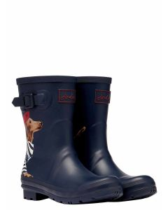Joules Molly Welly Mid Height Printed Welly - Navy Sausage Dog | 214785