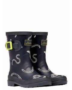 Joules Junior Welly Print, Grey Worms, 214189