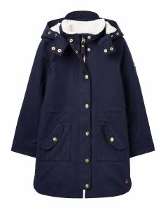 Joules Loxley Long Girls Longline Cosy Waterproof Coat - French Navy - 215051