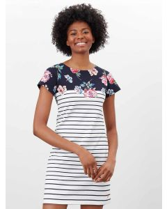 JOULES RIVIERA SHORT SLEEVE JERSEY DRESS, NAVY FLORAL | 215166