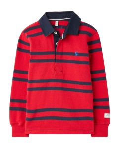 Joules Onside Boys Stripe Rugby Shirt - Red Stripes - 215210