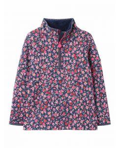 Joules Fairdale Luxe Girls 1/2 Zip Sweatshirt - Navy Ditsy - 215399