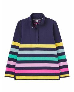 Joules Girls Saunton 1/2 Zip Sweatshirt - Navy Multi Stripe - 215400