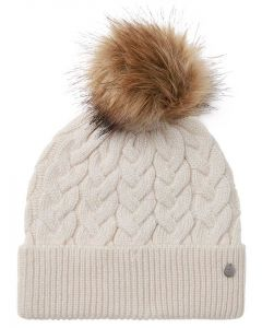 Joules Elena Cable Hat - Cream - 215450