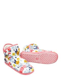 Joules Cabin Faux Fur Lined Slippers with Rubber Sole - Cream Floral - 215463
