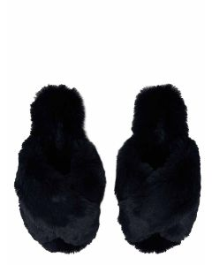 Joules Slumber Cross Strap Faux Fur Slider Slippers - French Navy - 215981