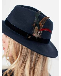 Joules Felt Fedora Hat, French Navy - 216298