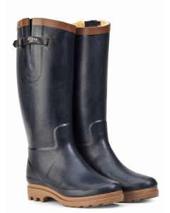 Aigle Aiglentine Fur Lined Women's Welly Boot, Marine/Ambre V2