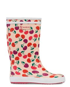 Aigle Lolly Pop Print Children's Welly Boot, Cherry
