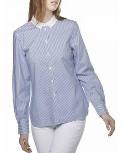 Women's Calisse Oxford Cotton Stripe, Ocean Stripe